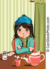 Sick little girl - A vector illustration of a sick little...