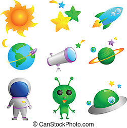 Astronomy icons - A vector illustration of cute astronomy...