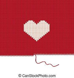 Knitted heart. Valentines day card. Vector illustration