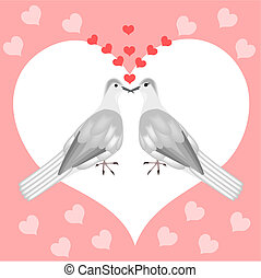 Turtle doves - Illustration of turtle doves in love with...
