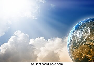 Planet in blue sky - Peaceful background - planet in blue...