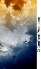 Dark sky - Armageddon background - dramatic sky with light...