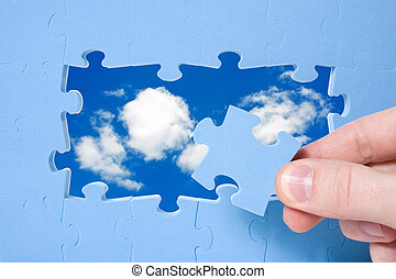 concept of sustainable development with  puzzle and sky