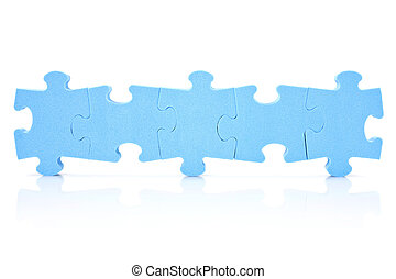 five puzzle pieces connected in a row - teamwork concept...