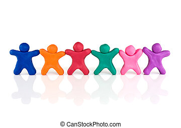 friendship and togetherness color plasticine people standing...