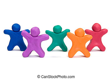 plasticine people doing exercise - healthy life concept....