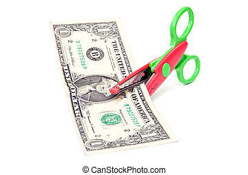 Scissors cuts one american dollar - Scissors cuts one...