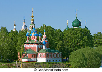 Beautiful church in forest - Church of the Dmitry in Uglich....