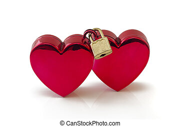 Wedlocked, two hearts locked, isolated on whie - Two red...