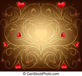 Valentine's day background - red floral background with...