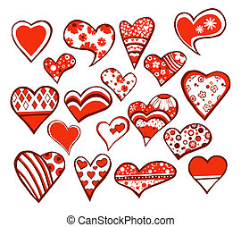 18 hearts - 18 floral hearts isolated on white background