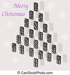 A beautiful tree of dominoes Christmas card