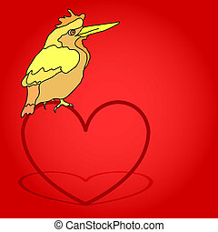 Postcard from a bird sitting on the heart.