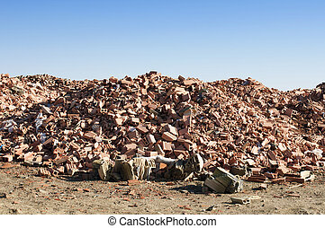 Landfill for disposal of construction waste. Brick debris