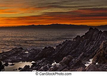 Nerves scoast at sunset - the cliffs of the Nerves scoast at...
