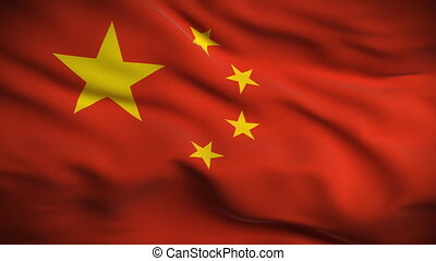 Chinese Flag HD. Looped. - HD 1080. Highly detailed Chinese...