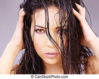 woman with wet hair - Portrait of a pretty woman with wet...