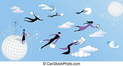 Cloud computing blue - Men a women flying and working...