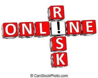 3D Online Risk Crossword on white background