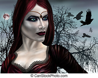 Vampire Princess - Illustration of a gothic vampire on a...