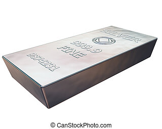 Silver bar - Isolated illustration of a pure silver ingot