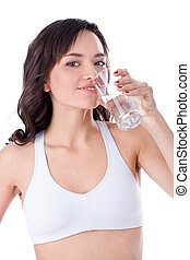 young girl drinking water - Beautiful healthy fitness girl...