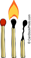 Three matches on a white background, vector illustration