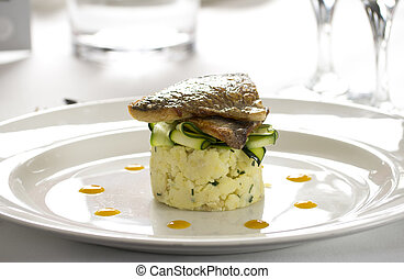 Salmon gourmet restaurant dish - Salmon dish with courgettes...
