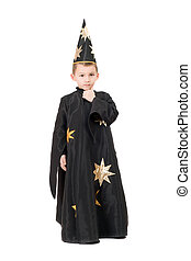 Boy dressed as astrologer. Isolated
