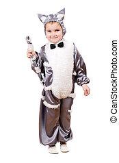 Little boy dressed as cat