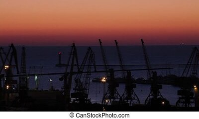 sunrise in the harbor of Odessa,