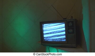 TV green blue tile loop - This is a unique shot of a retro...