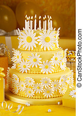 Daisy birthday cake - Three tier fondant cake with candles