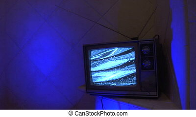 TV blue tile loop - This is a unique shot of a retro analog...