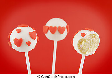 Valentine pop cakes - White chocolate pop cakes garnished...