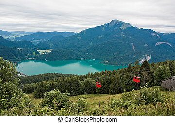 View from Zwolferhorn on Wolfgangsee with cabel car in...