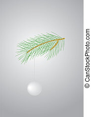 Pine branch - Green pine branch with a white ball
