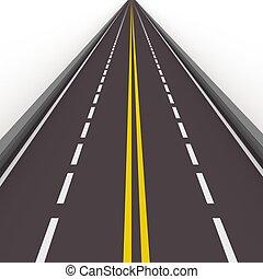 high way 3d illustration - turned left asphalted road...