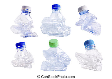 Squashed plastic bottle - Collection of squashed plastic...