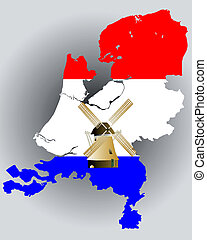 Map of Holland in the colors of the flag with a windmill on...