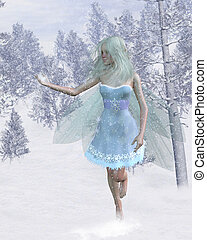 Cold Winter Fairy with Snowflakes