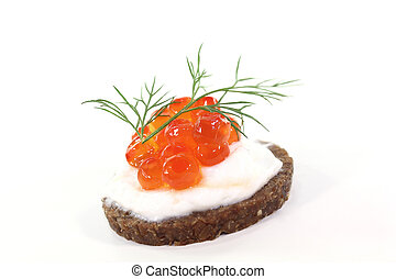 Hors d oeuvre - Pumpernickel bread with cream cheese, caviar...