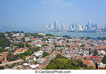 Xiamen aerial view from Gulang-yu island, China
