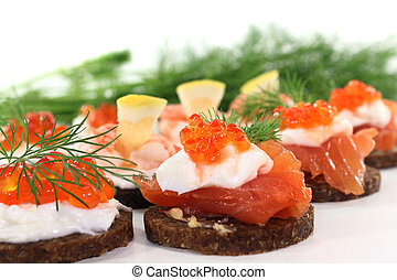 canapes - different canapes on a white background