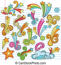 Stars and Starbursts Vector Designs - Hand-Drawn Psychedelic...