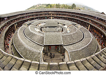 Fujian Tulou house in China. It is the Chinese rural...