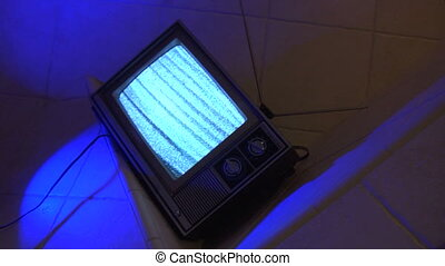 TV Blue tile dutch loop - This is a unique shot of a retro...