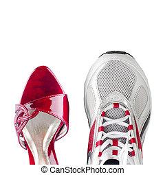 Women's and men's shoes isolated on white background
