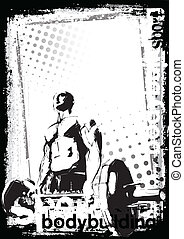 bodybuilding poster - illustration of the bodybuilder