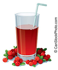 Glass of cranberry juice with a straw surrounded by...